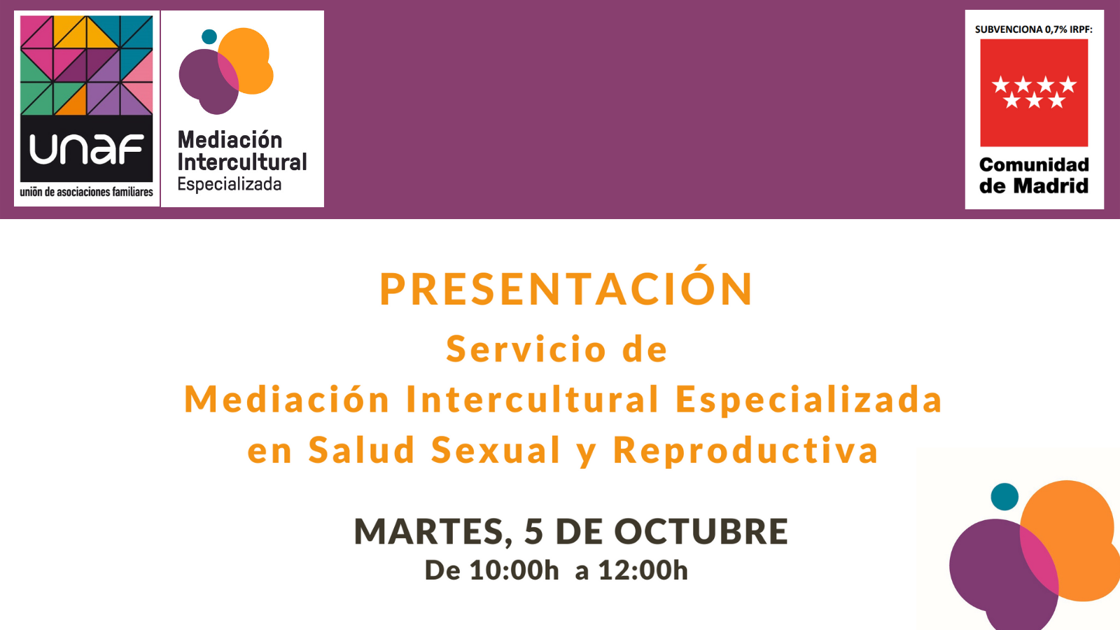 Presentación del nuevo servicio de mediación intercultural especializada en salud sexual y reproductiva
